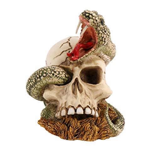 Wakauto Halloween Schädel Figuren Schlange Kopf Harz Ornament Skulptur Statue Realistische Skelett Schädel Modell Foto Requisiten für Hauptdekoration Spukhaus Desktop Deko