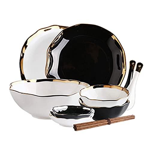 Juego de cena fino, juego de vajilla con plato de cena, 48 piezas de exclusivos juegos de platos y cuencos de porcelana de hueso - Juego de cena de cerámica dorada de lujo para reuniones familiares y