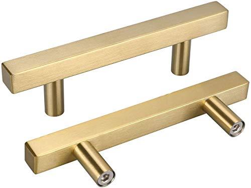 10 Stück Schrankgriffe Edelstahl Schubladengriffe Vintage - LONTAN Schrankgriffe Gold Griffe für Küchenschränke Schubladengriffe 96mm, 1212GD