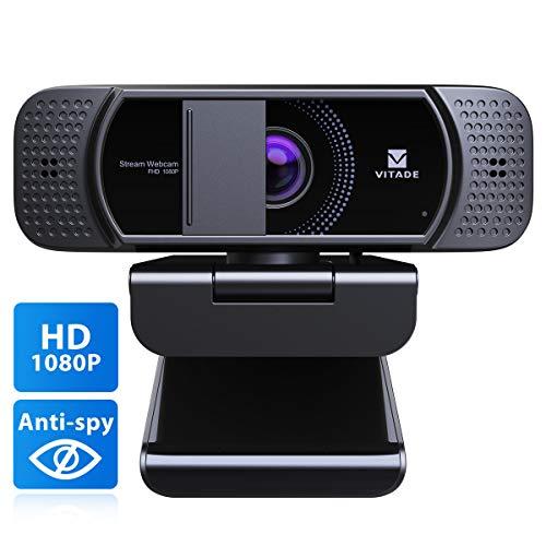Webcam 1080P con microfono e copertura, Vitade 672 HD USB Desktop Laptop Webcam Facecam per lo streaming di videoconferenze Mac Windows PC Xbox Skype OBS Twitch YouTube Xsplit