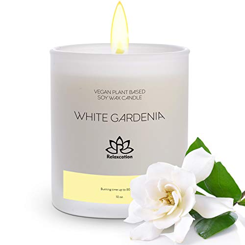 Natural Soy Wax Candle in Glass Jar   Luxury White Gardenia Scented Soy Candles   Delicate and Floral   Long Burning 80 Hours Aromatherapy   Giftable Box   10oz