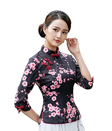 YueLian Wintersweet Blossom Mandarinenkragen Chinesische Tang-Shirts Qipao Tops Traditionelle Bluse Damen Gr. 42, Schwarz