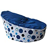 BayB Brand Bean Bag for Babies and Toddlers - Filled and Ready for Use (Blue/Black Polka Dot)
