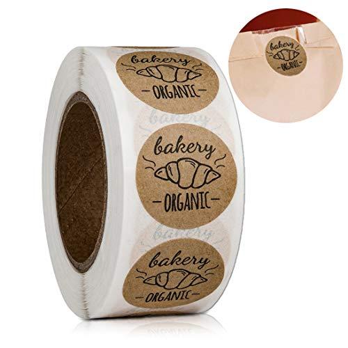 Ariymap 500 STÜCKE Runde 1 Zoll Kraft Gebacken mit Liebe Aufkleber Handgemachte Bäckerei Aufkleber Etiketten für Gebackenes Brot Dekor