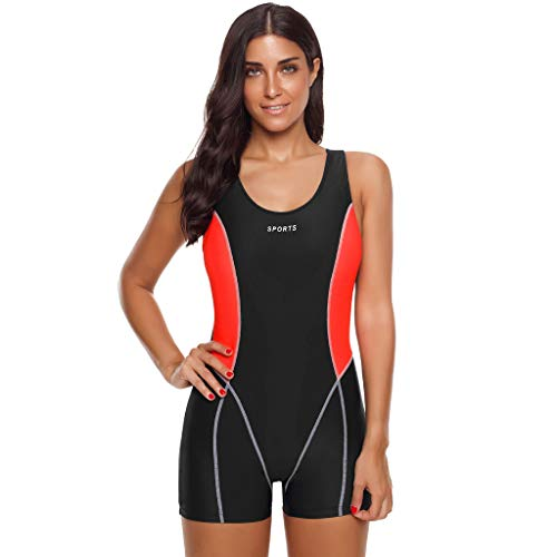 iYmitz Damen Sommer Badeanzug Einteiler Schnelltrocknend Bodysuit Professioneller Sport Frauen Bademode