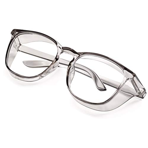 Safety Goggles Safety Glasses Clear Frame with Side Shields UV400...