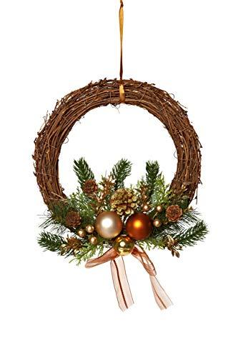 HEITMANN DECO Weihnachtskranz - Türkranz Wandkranz Weihnachten - dekorierter Kranz aus Tannenzweigen - Kupfer, Gold, Grün