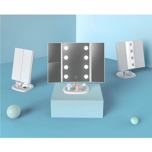 XinMeiMaoYi lámpara de mesa Lámpara LED De Espejo De Maquillaje Tríptico Lámpara De Escritorio Espejo Plegable Espejo De Vanidad Cuadrado Espejo Princesa USB Multifunción ( Color : Gold )