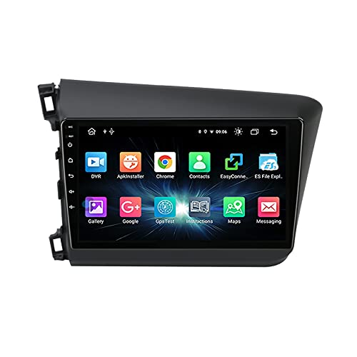 Android De Radio Coche Bluetooth Car Reproductor Estéreo Micrófono Incorporado Apoyo Llamadas De Manos Libres/Mirror Link/Control del Volante, para Honda Civic 2012-2015,Quad Core,WiFi 1+16