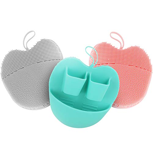 INNERNEED Soft Handheld Silicone Facial Cleansing Brush, Mild Anti-Slip Face Exfoliating and Massage Scrubber Pad, Gentle Exfoliating, Removing Blackhead, Massaging (Pack of 3)