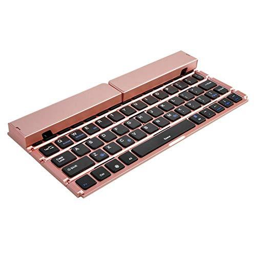 Mecánico Gaming Keyboard Mini portátil inalámbrico de doble canal plegable para ordenador portátil Gaming ligero (tamaño: único, color: oro rosa)