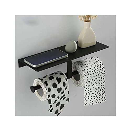 GDYJP Tenedor de Papel Doble, Soporte de Rollo Cocina montada en la Pared Accesorios de baño Teléfono Estante Estante de Inodoro Espacio de Aluminio Material (Color : Black)