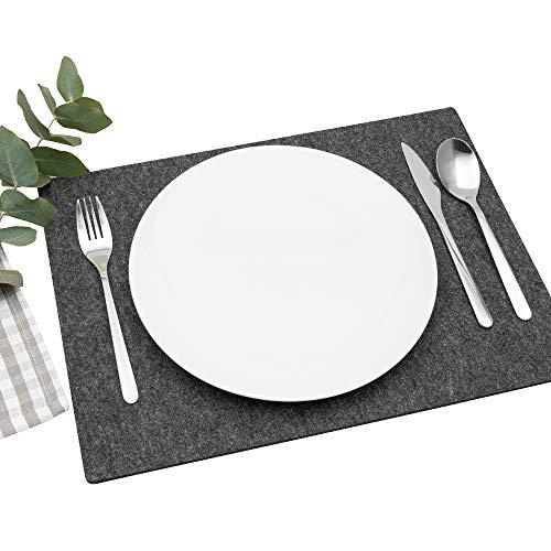 FILU Platzsets aus Filz 4er-Pack Dunkelgrau eckig (Farbe und Form wählbar) 30 x 41 cm – Tischset für drinnen und draußen Deko für Esstisch im Wohnzimmer, Gartentisch/Balkontisch