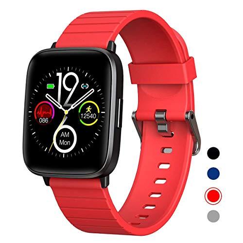 DOOK Smartwatch, Reloj Inteligente Impermeable IP68 para Hombre Mujer niños, Pulsera de Actividad Inteligente con Monitor de Sueño Contador de Caloría Pulsómetros Podómetro para Android iOS,Rojo