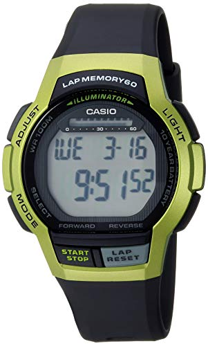 Casio Men's 10- Year Battery Quartz Sport Watch with Resin Strap, Black, 19.3 (Model: WS-1000H-3AVCF)