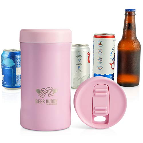 Beer Buddy Insulated Can Holder – Vacuum-Sealed Stainless Steel – Beer Bottle Insulator for Cold Beverages – Thermos Beer Cooler Suited for Any Size Drink - One Size Fits All (Matte Pink)