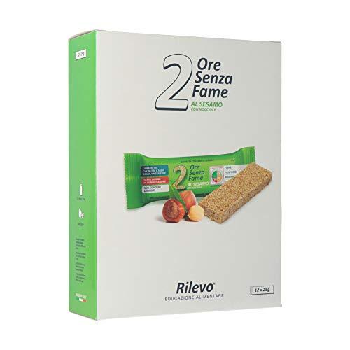 Rilevo-2 Ore Senza Fame al Sesamo- 12 Confezioni 25 Singole di Barrette Spezzafame con Semi di sesamo, miele italiano, malto di riso e nocciole-12x25g-