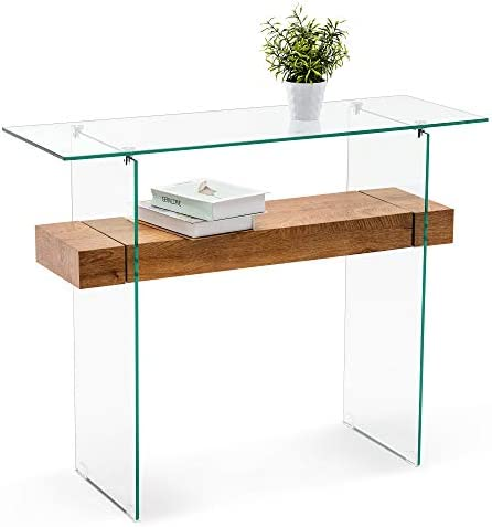 Ivinta Narrow Glass Console Table with Storage Modern Sofa Table Entryway Table Glass Writing product image