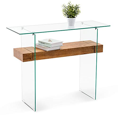 Ivinta Narrow Glass Console Table with Storage Modern Sofa Table Entryway Table Glass Writing Desk Small Computer Desk TV Table Buffet Table Modern Accent Table for Small Space Living Room Hallway