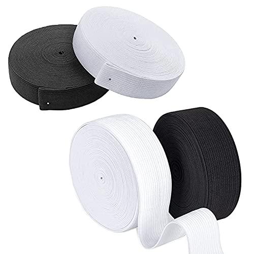 4 Pièces Bande plate Élastique à Coudre, Elastique Couture Tissu Rubans, Élastique de Ruban à Coudre, Pour la Couture, Vêtements, l'Artisanat (2 cm/ 3 cm)