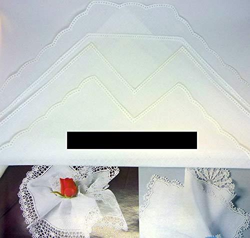 Nähstübl 4 Stück Taschentücher zum umhäkeln mit Ecke ca. 25x25 cm weiß