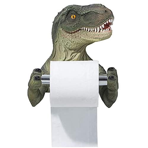 WZDTNL Soporte de papel higiénico de dinosaurio, estante de toalla de dinosaurio de dibujos animados, divertido soporte de papel higiénico de resina para el hogar