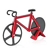 Asdirne Cortador de Pizza , Cortapizzas Bicicleta con Hoja de Acero Inoxidable con Revestimiento Antiadherente, Limpieza Afilada y Fácil, 18,5CM, Rojo