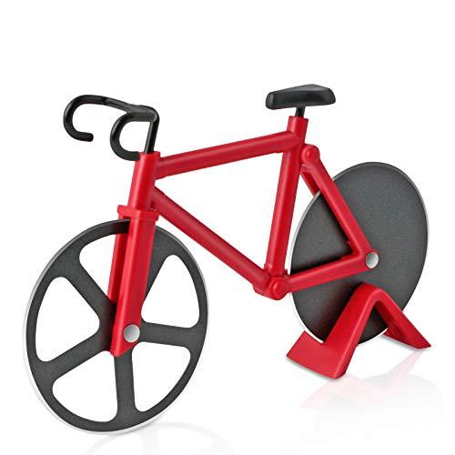 Asdirne Pizzaschneider, Pizzaschneider Fahrrad mit Antihaftbeschichtung aus Edelstahl, scharf und leicht zu reinigen, Pizzaschneider Geschenk, 18,5CM, Rot