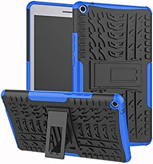 YHUISEN Hyun Pattern Dual Layer Hybrid Armor Kickstand 2 in 1 Shockproof Cover for Huawei MediaPad T3 8.0 inch 2017 Release (Color : Blue)