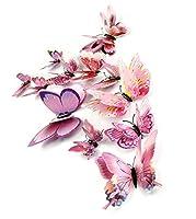 12PCS /マルチカラー二重層3D蝶のウォールステッカーマグネットPVC蝶パーティーキッズベッドルーム冷蔵庫デコレーション10色を設定 (色 : 03)