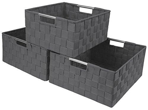 Sorbus Storage Box Woven Basket Bin Container Tote Cube Organizer Set Stackable Storage Basket Woven Strap Shelf Organizer Built-in Carry Handles Gray