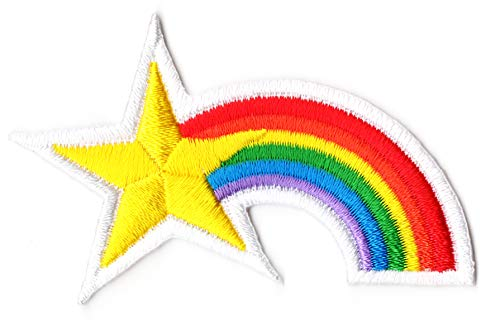 Rainbow Star Iron on Patch Sew on Embroidered Badge Patches (Iron or Sewing On)