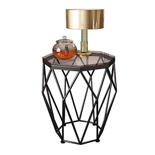 Creative moderne minimalistische salontafel Tabellen Octagon Corner Table Side Table, gehard glas metalen frame, for kleine ruimtes slaapkamer avondje, Diameter 47cm x hoogte 56cm Licht luxe-afwijzing