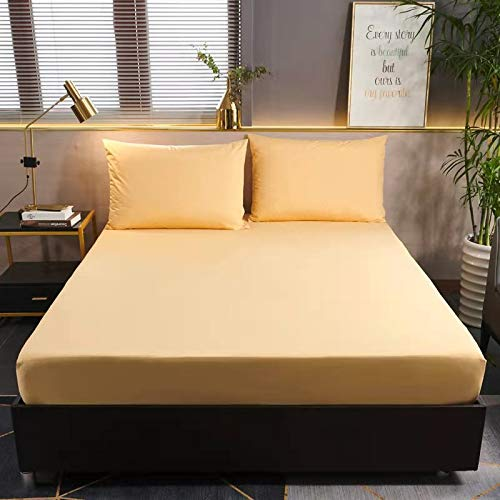WWQQ Solid Color Fitted Sheet Bed Mattress Cover Set Bed Sheet Single/Double/King Sizemattress Sheets Bedding Bed Sheet Bedspread Bed Shrink Resistance, No Fading (Color : I, Size : 120X200CM)