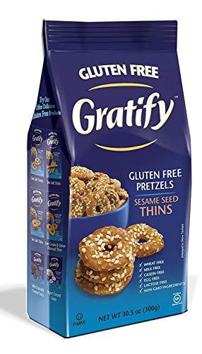 Gratify Gluten Free Pretzel Thins Sesame Seed Vegan GF Pretzel Crisps, 10.5oz Bag (1 Bag)