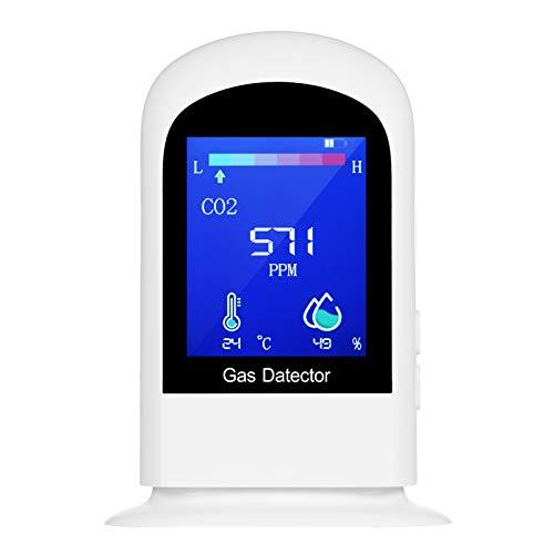 KKmoon 充電式 二酸化炭素濃度計 ポータブル LCD デジタル CO2 測定器 二酸化炭素計測器 CO2 / RH/温 度 3-in-1 空気品質モニター
