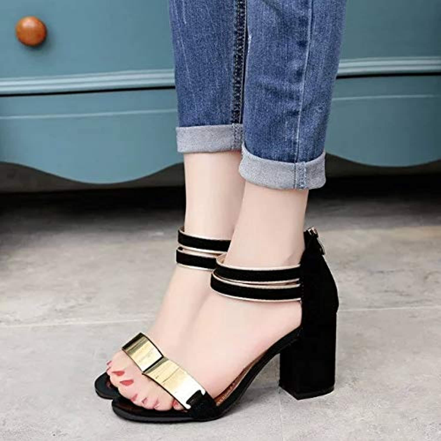 DNJKSA One-Word Button Coarse-Heeled Sandals 2019 Summer Korean Version Fashion New Fish Mouth Medium-Heeled Women
