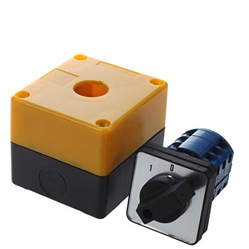 SODIAL(R) Interruptor conmutador 3 posiciones rotativo LW28-20/3 500V 20A Negro + Amarillo