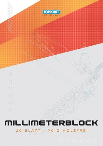 100 Blatt (5x20 Blatt) Millimeterpapier DIN A4