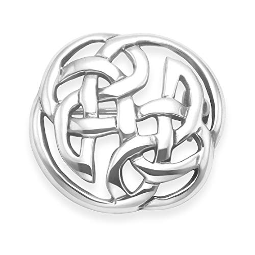 Sterling Silver Celtic Brooch - SIZE: 23mm. Gift Boxed round Celtic brooch. 9015/HN