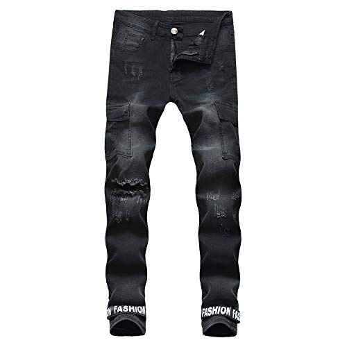 Jeans Slim Jeans Denim Mannelijke Zwarte tinten Beam Outlet Hole Denim Pants Voeten met Soft Touch (Color : As picture, Size : 40)