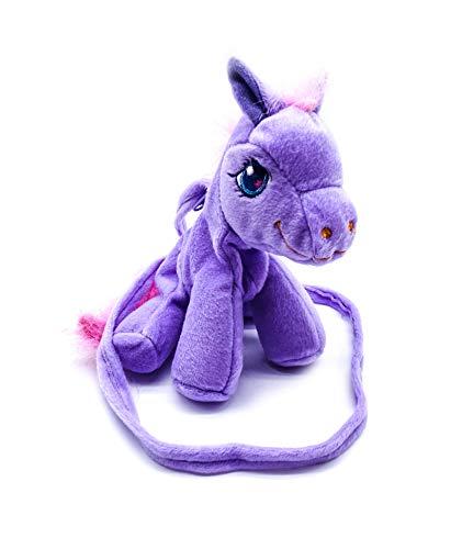 irresistible1Super Cute Soft Plush Pony Zipper Shoulder Bag Purse 19x12cm with String in Purple