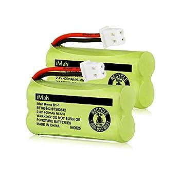 iMah BT183342/BT283342 2.4V 400mAh Ni-MH Battery Pack Also Compatible with AT&T VTech Cordless Phone Batteries BT166342/BT266342 BT162342/BT262342 CS6709 CS6609 CS6409 BL102-3 EL52100 EL50003 2-Pack