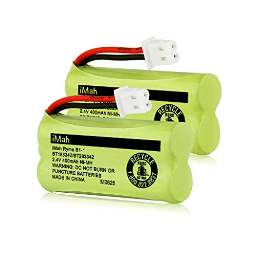 iMah BT183342/BT283342 2.4V 400mAh Ni-MH Battery Pack, Also Compatible with AT&T VTech Cordless Phone Batteries BT166342/BT266342 BT162342/BT262342 CS6709 CS6609 CS6409 BL102-3 EL52100 EL50003, 2-Pack