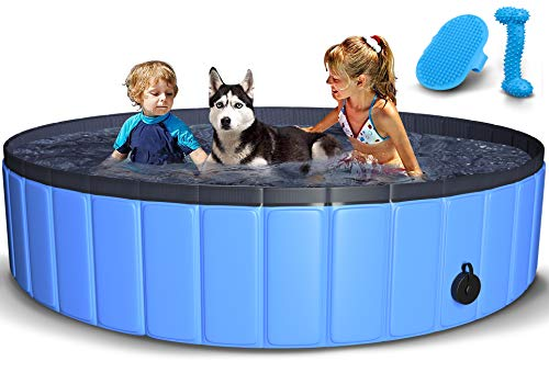 TNELTUEB Pet Swimming Pool for Large Dogs, 63 inch Collapsible Dog Pool with Pet Brush Dog Chew Toy, Foldable Kiddie Pool Plastic Pet Bathing Tub, Portable Outdoor Swimming Pool for Kids and Dogs Cats