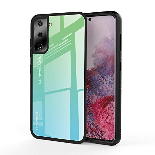 GOGME Cover per Samsung Galaxy S21(6.2') 5G Cover, Custodia in Vetro a Colori Sfumato, Vetro Temperato AntiGraffio Back Cover + Bordo in Silicone Morbido TPU Protettiva Case Cover(6)