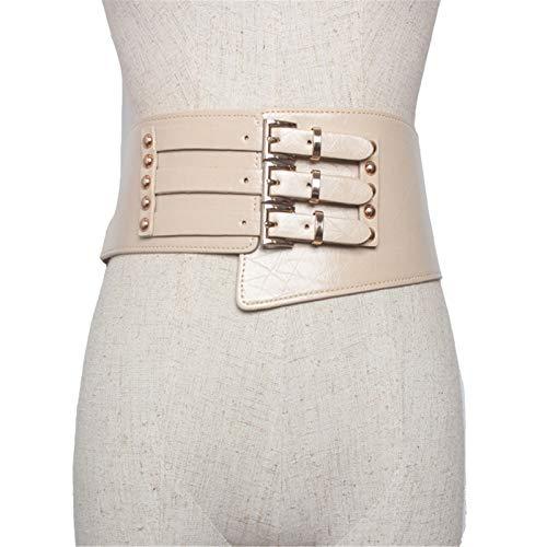 Cuero de Mujer Vestido salvaje europeo y americano PU de mujer PU Cinturón ancho de cuero ancho Decoración de la decoración Fashion Street Shooting Cinturón Ancho ( Color : Apricot , Size : 76cm )
