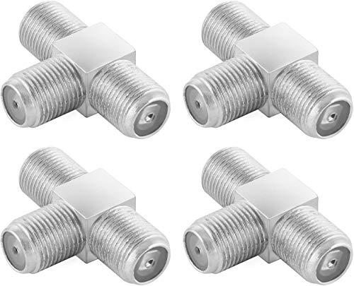 Poppstar 4X Sat TV Coax Verteiler T-Stück (3X F-Buchse) Antennen Splitter Adapter für Koaxialkabel, Antennenkabel, silbern