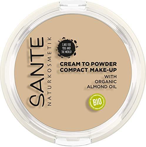 SANTE Naturkosmetik Compact Make-up 01 Cool Ivory, Heller Hautton, Kompaktpuder für mattierende Deckkraft, Mit Spiegel & Quaste, Vegan, 9g