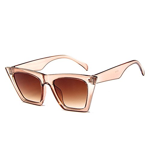 Amcool Mode Damen Übergroße Sonnenbrille Vintage Retro Cat Eye Sonnenbrille (Beige)